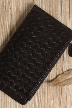 韩国国内快递到多卡位卡包男女长款羊皮编织卡包信用卡真皮卡片包超薄男女士卡夹时效