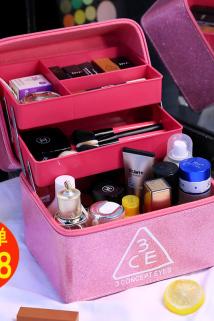 邮多多淘宝集运转运大容量化妆箱化妆品收纳包防泼水韩国便携大号手提化妆包专业多层