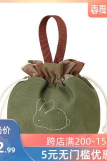 邮多多淘宝集运转运三色补丁原创森系刺绣日式帆布手提小包包女可爱化妆包清新便当袋