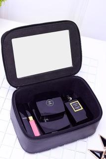邮多多淘宝集运转运网红带镜子化妆包小号便携韩国简约可爱少女心大容量多功能收纳盒