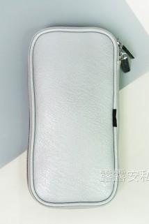 邮多多淘宝集运转运银色PU皮疯马纹高档长杆化妆刷收纳包 便携12支装带拉链化妆包