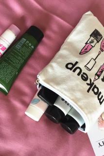 邮多多淘宝集运转运旅行大容量便捷化妆包帆布印花原创小号女可爱迷你化妆品收纳袋包