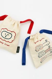 邮多多淘宝集运转运韩国进口romane可爱卡通帆布束口抽绳袋旅行化妆整理收纳包手拎包