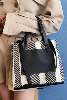邮多多淘宝集运转运韩国原创简约手提包女公文包化妆包商务风OL上班族单肩包编织包女