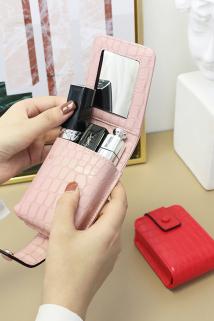 邮多多淘宝集运转运KQueenStar口红包化妆包带镜子搭扣迷你随身口红盒收纳包简约小包