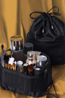 邮多多淘宝集运转运网红化妆品收纳盒桌面整理口红刷梳妆台护肤置物架懒人包抽绳便携
