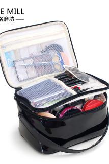 邮多多淘宝集运转运新款可爱双层化妆包特大号超大容量多功能旅行防水洗漱收纳包漆皮