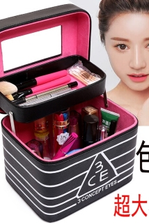 邮多多淘宝集运转运网红同款双层化妆包大容量化妆品收纳盒韩版折叠化妆箱带隔层镜子