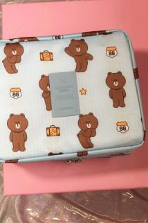 邮多多淘宝集运转运旅行可爱小熊洗漱包 韩版大容量化妆包 手提卡通户外化妆品收纳包