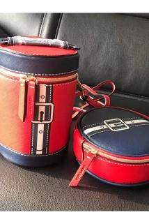邮多多淘宝集运转运上新包邮 雅诗兰黛海军蓝红色水桶袋包 斜挎包单肩包化妆包水桶包