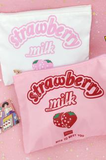 邮多多淘宝集运转运网红少女心卡通小清新粉色草莓化妆包软妹学生可爱便携洗漱收纳包