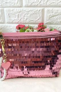 邮多多淘宝集运转运一件包邮!欧珀莱化妆包 粉色亮片闪闪化妆包+珍珠钥匙链 手拿包