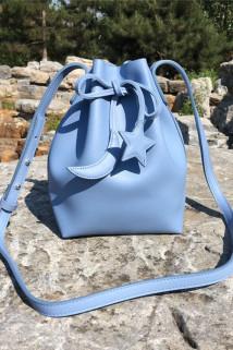 邮多多淘宝集运转运新款雅诗兰黛星月蓝色抽绳手提包 斜跨包 单肩包 时尚化妆包 背包