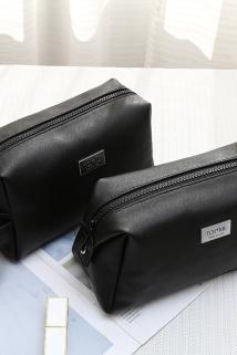 邮多多淘宝集运转运黑色化妆包女大容量便携韩国简约ins风超火化妆品收纳包化妆袋女