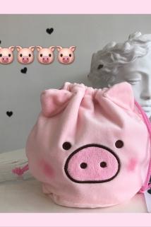 邮多多淘宝集运转运ins可爱粉色小猪化妆包少女心便携洗漱抽绳束口袋手提杂物收纳袋