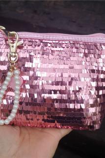 邮多多淘宝集运转运欧珀莱新款精美粉色亮片闪闪化妆包珍珠钥匙链手拿包便携晚宴包
