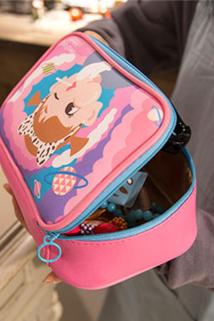 邮多多淘宝集运转运bentoy棒棒方块包 可爱女孩大容量化妆包 小清新粉嫩收纳包