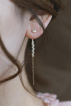 西班牙国内快递到银本家原创女士耳环长款2019新款潮纯银镀金耳挂气质个性时尚耳饰时效