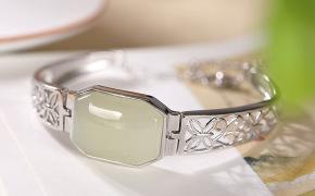 淘宝集运转运到加拿大{简爱} 925纯银镶嵌和田玉白玉镂空花纹个性气质女士手镯手链手环