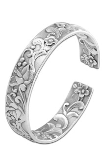 邮多多淘宝集运转运泰银精工银镯子S990足银饰品女式潮流开口花卉手工纯银手镯
