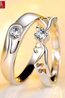 邮多多淘宝集运转运情侣戒指女 日韩 925纯银戒指 情侣女士结婚对戒银饰品七夕节礼物