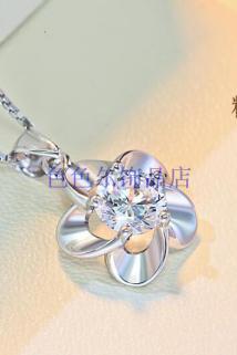 邮多多淘宝集运转运925纯银简约锁骨链女士学生个性花朵银饰玫瑰花项链配饰百搭吊坠