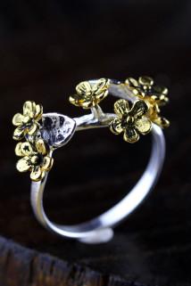 邮多多淘宝集运转运人品银品 S925纯银饰品泰国清迈纯手工女士梅花花卉镀金复古戒指