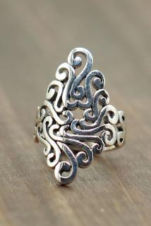 邮多多淘宝集运转运泰银个性夸张宽面女士镂空指环s925纯银饰品复古做旧款民族风戒指
