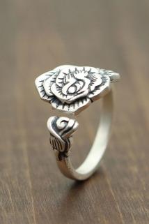 邮多多淘宝集运转运泰银复古做旧款唯美花朵开口指环s990纯银饰品个性文艺女士戒指
