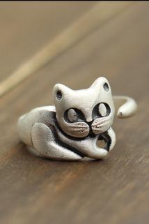 邮多多淘宝集运转运泰银个性可爱小猫咪开口女士指环复古做旧款磨砂戒指s990纯银饰品