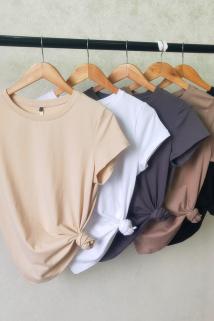 邮多多淘宝集运转运2020夏百搭修身纯色纯棉杏色圆领短袖T恤女基础款打底衫半袖上衣
