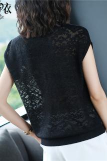 邮多多淘宝集运转运黑色圆领短袖t恤女夏装2020新款夏季镂空性感冰丝针织衫半袖上衣