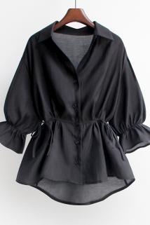 邮多多淘宝集运转运2020新款韩版宽松短款v领收腰显瘦雪纺衫荷叶边衬衫上衣女装夏季