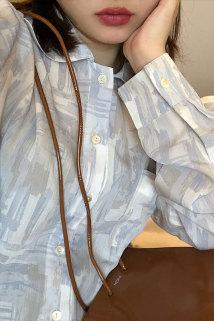 邮多多淘宝集运转运OPENING自制衬衫女设计感小众复古油画上衣外穿防晒衣百搭外套夏