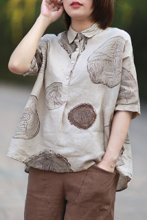 邮多多淘宝集运转运2020复古亚麻衬衫女短袖款文艺波点印花年轮衬衫棉麻宽松显瘦上衣