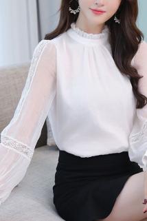 邮多多淘宝集运转运木耳领蕾丝灯笼袖拼接雪纺衬衫白色长袖衬衣女2020新款打底上衣