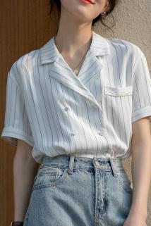 邮多多淘宝集运转运西装领雪纺条纹衬衫女设计感小众洋气锁骨上衣气质高级法式衬衣夏