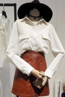 邮多多淘宝集运转运2020秋装新款OL风韩范衬衫女长袖百搭宽松显瘦双口袋雪纺衬衣上衣