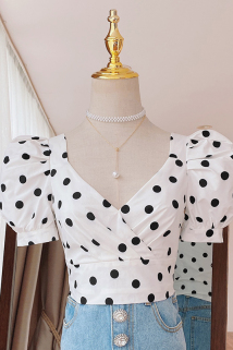 邮多多淘宝集运转运2020夏黑白波点法式上衣宫廷风复古衬衫泡泡袖浪漫小仙女短袖衬衣