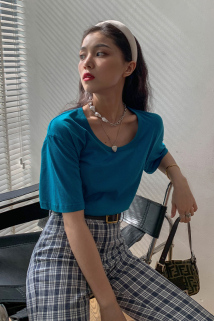 邮多多淘宝集运转运寻常小胡 纯棉短袖t恤女ins潮2020年夏季新款港风设计感短款上衣