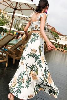 邮多多淘宝集运转运波西米亚2020海边女神范印花沙滩裙吊带露背长裙开叉碎花连衣裙