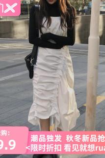 邮多多淘宝集运转运裙子2020秋季新款仙女超仙森系小个子长裙收腰显瘦气质背带连衣裙