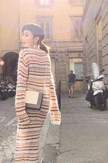 邮多多淘宝集运转运初秋连衣裙2020韩版新款慵懒风过膝彩虹条纹针织长裙女显瘦打底裙