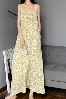 邮多多淘宝集运转运口袋小心机油画印花吊带裙 黄色到脚踝超长裙抽皱V领小碎花连衣裙