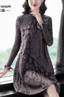 邮多多淘宝集运转运宽松连衣裙女装春秋新款重工刺绣长袖女人味百搭轻奢中长款打底裙