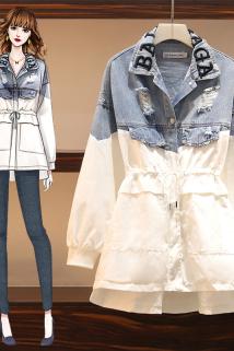 邮多多淘宝集运转运大码女装2020年秋装新款胖妹妹洋气连衣裙宽松风衣春秋牛仔衣外套