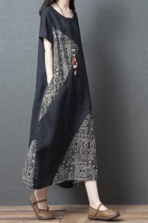 邮多多淘宝集运转运2020夏季新款宽松大码女装文艺复古拼接棉麻短袖连衣裙显瘦长裙子