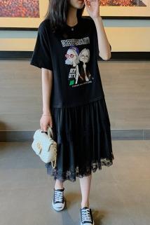 邮多多淘宝集运转运法式赫本风2021春夏新款大码裙子女气质宽松女装印花显瘦连衣裙