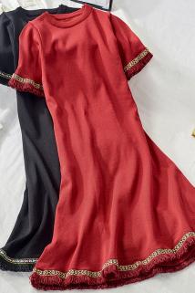 邮多多淘宝集运转运2021春季新款复古流苏刺绣短袖高腰针织连衣裙女显瘦大摆裙潮2868