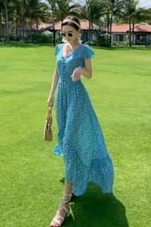 邮多多淘宝集运转运2020新款沙滩裙超仙巴厘岛蓝色露背性感三亚海边度假长裙连衣裙女